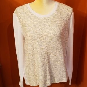 Orvis sweatshirt, white w/patterned front, Large